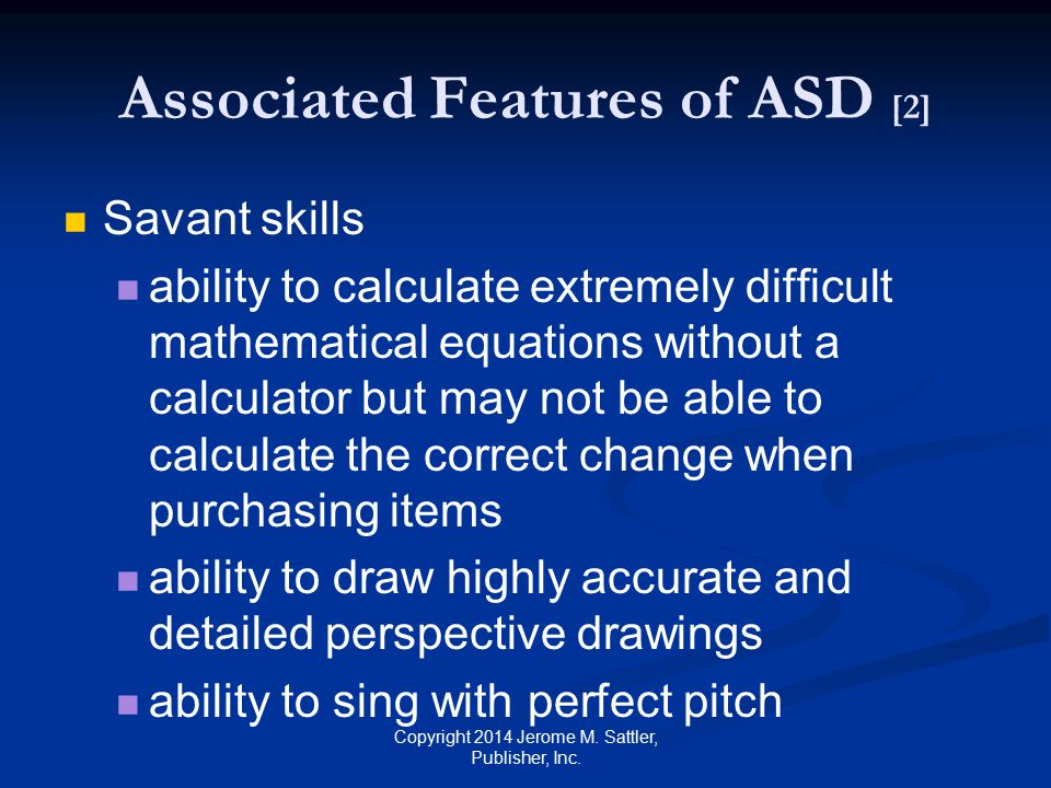 Associated Features of ASD [2]